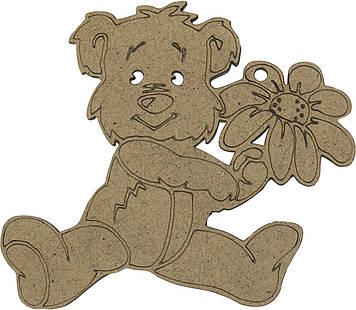 Ведмідь з квіткою 8х9см МДФ 3мм(5)