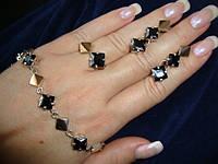 Гарнитуры из серебра с золотом  Черные камни (41 вид)