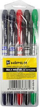"""Набір ручок масл.кульк. """"Hiper"""" №HO-335/5 Hiper Max Writer 0,7 мм( сін,чорн,чорн,зел,фіол.)"""