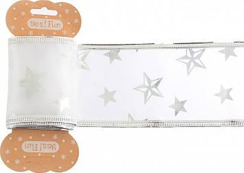 """Декоративна стрічка """"Santi"""" біла зі срібною зіркою,6смх2м №750327/Yes/"""