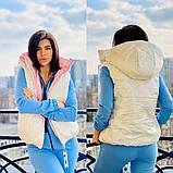 Жіноча стильна двостороння жилетка, з відстібними капюшоном, багато кольорів, фото 2