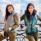 Жіноча стильна двостороння жилетка, з відстібними капюшоном, багато кольорів, фото 3