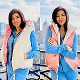 Жіноча стильна двостороння жилетка, з відстібними капюшоном, багато кольорів, фото 5