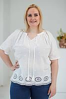 Стильна літня жіноча батистова ажурна блуза XL молочного кольору №755