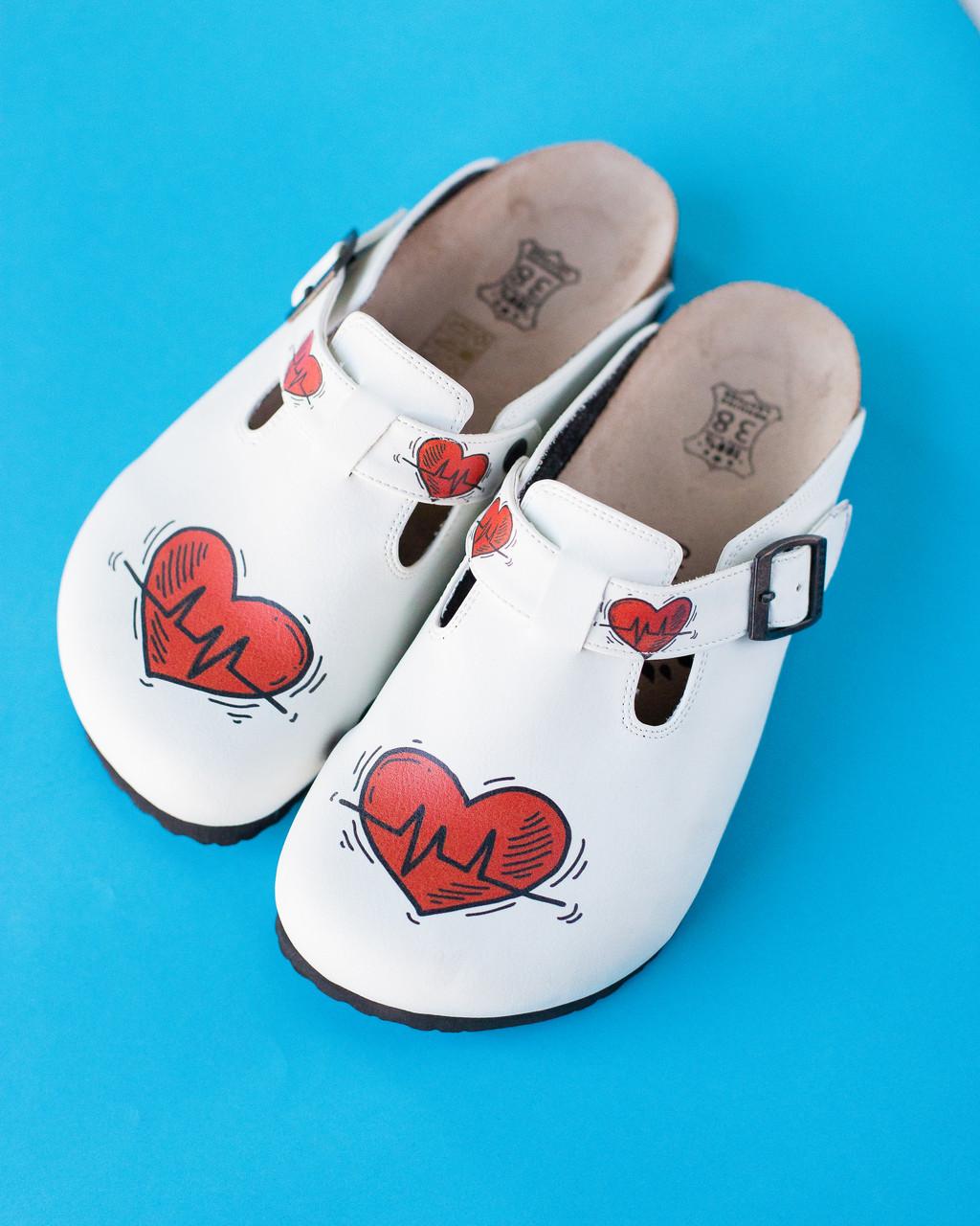 Ортопедичне взуття сабо з принтом HEART
