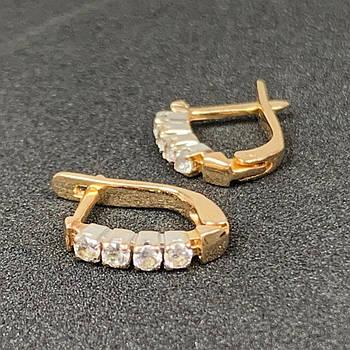 Шикарные золотые серьги с фианитами на английском замке, 585 пробы