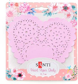 """Набір серветок ажурних """"Santi"""" №741690 серце d12,7см рожевий (12шт)"""