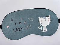 """Маска для сна """"Lazy Cat"""" зеленого цвета на резинке.Комфортный сон."""