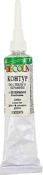 """Контур """"Decola"""" 18мл №52202979/5303979/352086 зелен. з блискітками,для скла,керам.(6)"""