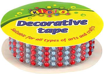 Стрічка клейка декор. пластик. ажурна зі стразами 0,5мх1,5см 10 кольорів №8285(56)
