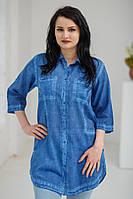 Стильна літня жіноча синя батистова джинсова туніка №810-2