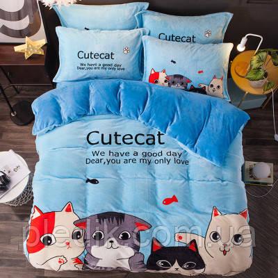 Постельное белье подростковое Фланель-микрофибра Homytex Cute cat