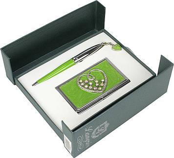 """Набір подар. """"Langres"""" №122008-04 Crystal Heart: ручка кульк.+візитниця,зелен."""