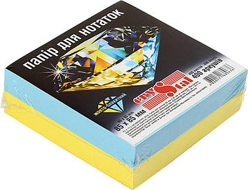"""Блок/заст. нкл 85х85мм 400арк. жовт.-блакитний """"Crystal"""" №0636(1)(40)"""