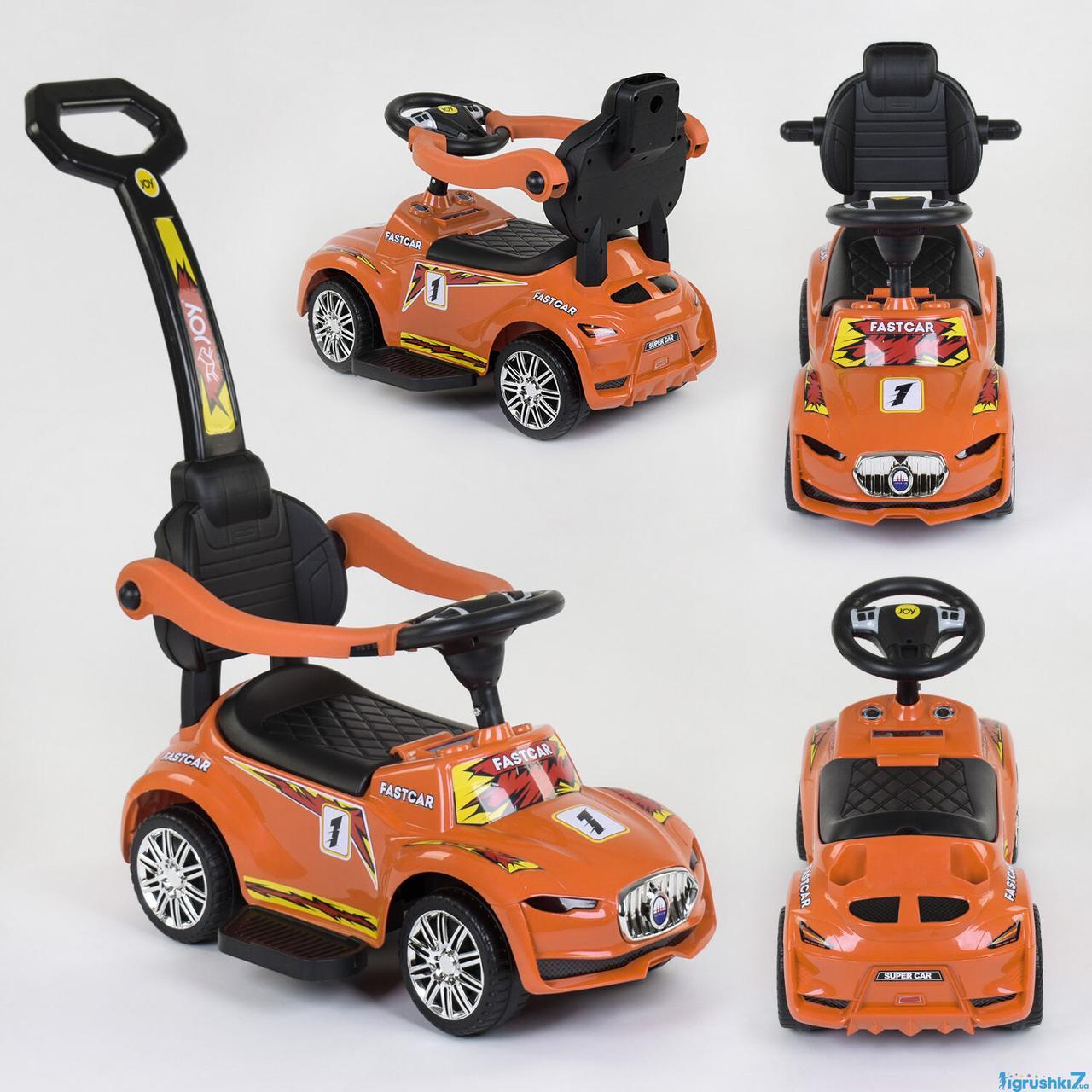 Машина каталка толокар JOY 99-255 T мелодии родительская ручка оранжевый
