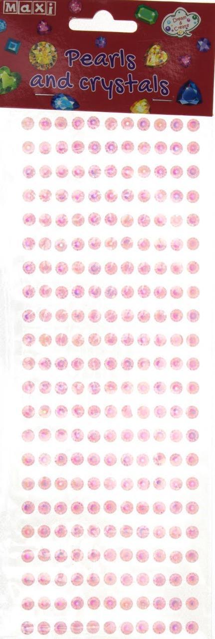 """Перлини та стрази самоклеючі """"Рожеві"""" №MX61605-02"""