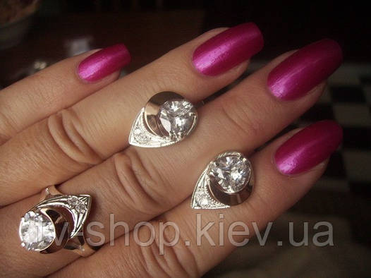 Гарнитуры из серебра с золотом Белые цирконы- 1