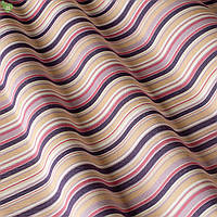 Уличная ткань в тонкую сиреневую и фиолетовую полосу на розовом  фоне