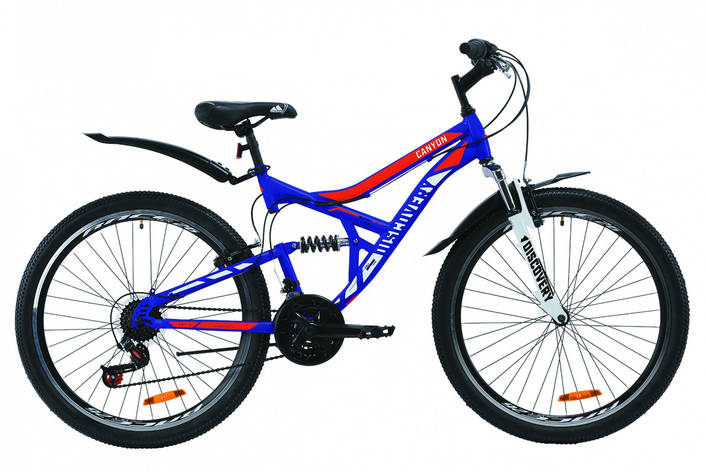 "Велосипед гірський двухподвесной 26"" Discovery Canyon AM Vbr 2020 сталева рама 17.5"" Так, Унісекс, 17,5"", синьо-помаранчевий, фото 2"