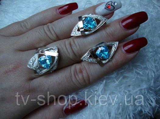 Наборы из серебра с золотом Цветные камни-2