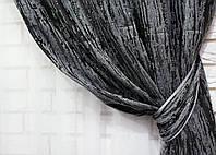 """Ткань для штор, лен-блекаут """"Короед"""" цвет серый с черным"""