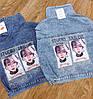 Джинсова куртка з яскравим малюнком на спині 42-46 (в кольорах), фото 5