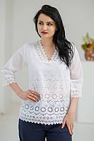Стильна літня жіноча ажурна біла батистова блуза №2014