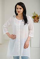 Легка літня жіноча біла батистова туніка з вишивкою і асиметричним низом №2047-1