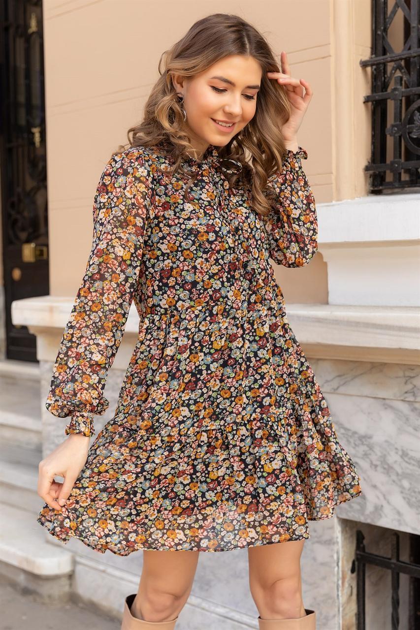 Романтичное платье в цветочек Турция 42-48 (в расцветках)