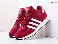 Мужские зимние кроссовки на меху  Adidas Iniki Runner, замша, пена, бордовые 41