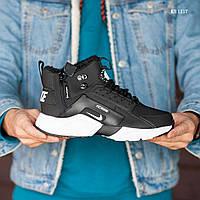 Мужские зимние кроссовки на меху  Nike Air Huarache Acronym, нубук, пена, черные с белым 41