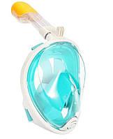 Маска EasyBreath детская XS бирюзовая для снорклинга полнолицевая с трубкой