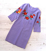 Р.128-146 распродажа! Детское платье вышиванка Лён