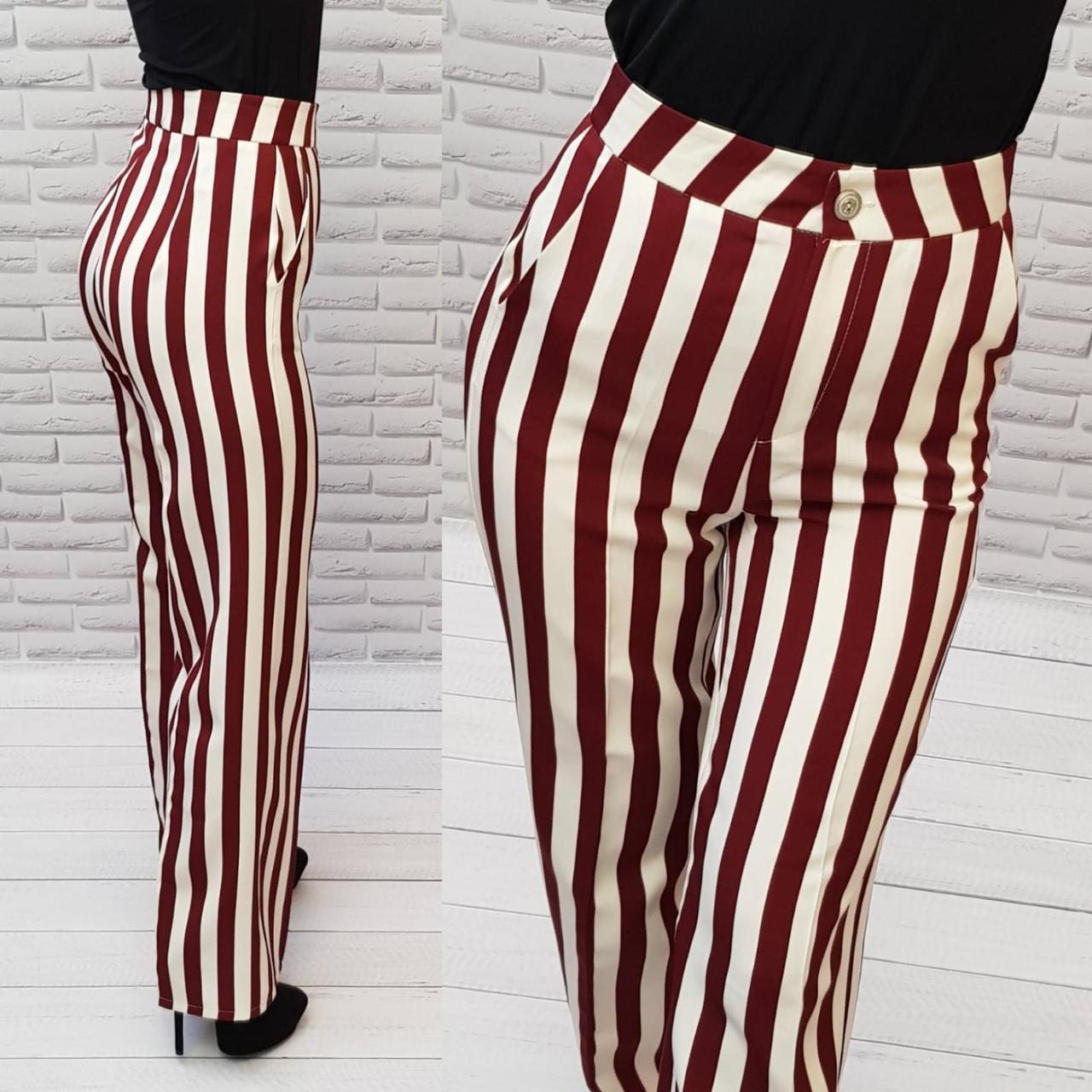 Стильные брюки в полоску с завышенной талией, арт 188, красная с белым полоска