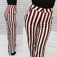 Стильные брюки в полоску с завышенной талией, арт 188, красная с белым полоска, фото 1