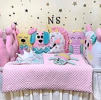 Бортики в кроватку для новорожденного, детское постельное белье для девочки PREMIUM