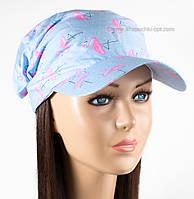 Летние банданы-повязки принт фламинго на голубом