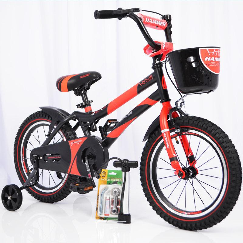 Детский велосипед c родительской ручкой и корзинкой HAMMER 16 дюймов S500 боковые колеса и насос от 5 лет