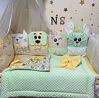 Бортики в кроватку для новорожденного, детское постельное белье для девочки или мальчика PREMIUM