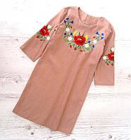 Р.128-152 распродажа! Детское платье вышиванка Лён