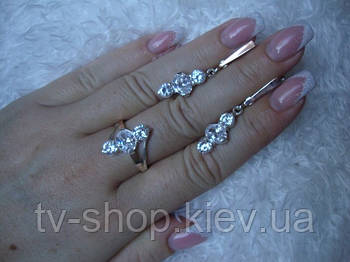 Наборы из серебра с золотом Белые цирконы-3 (50)
