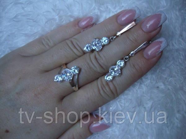 Наборы из серебра с золотом Белые цирконы-3
