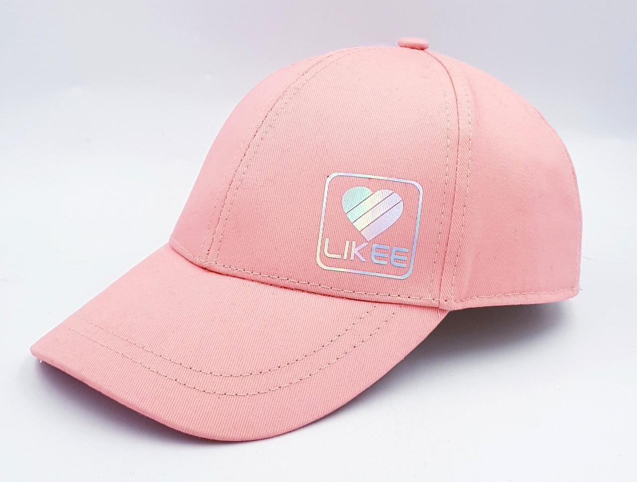 Детская бейсболка Klaus Koтон  для девочки Соцсети 53-55 Розовый  (068-К)