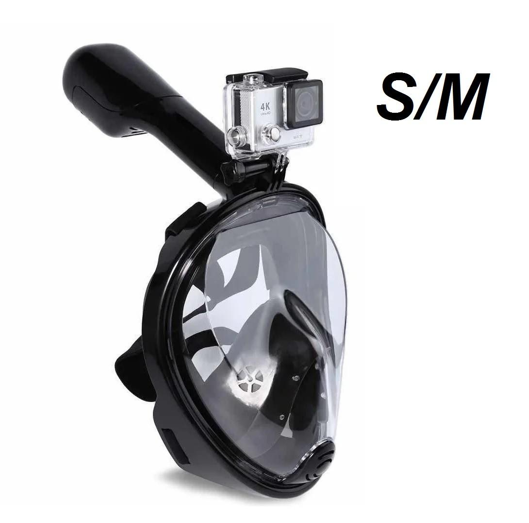 Маска EASY BREATH S/M повнолицьова для снорклінга з трубкою Чорна