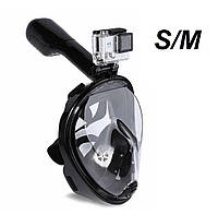 Маска EASY BREATH S/M повнолицьова для снорклінга з трубкою Чорна, фото 1