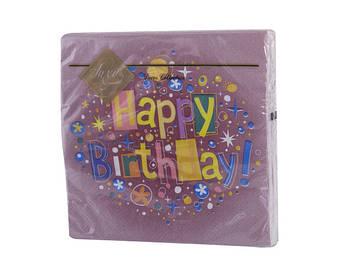 """Серветки столові ТМ """"Luxy"""" 3-х шарові (20шт) Щасливий день бордо(15)"""
