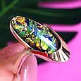 Серебряное кольцо с опалом и золотом, фото 7