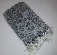 Полотенце в сауну Пештемаль 100*180 см с бахромой Черный