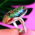 Серебряное кольцо с опалом и золотом, фото 6