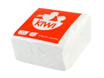 """Серветки столові """"Kiwi"""" (100шт) білі Еко №0026(10)(50)"""